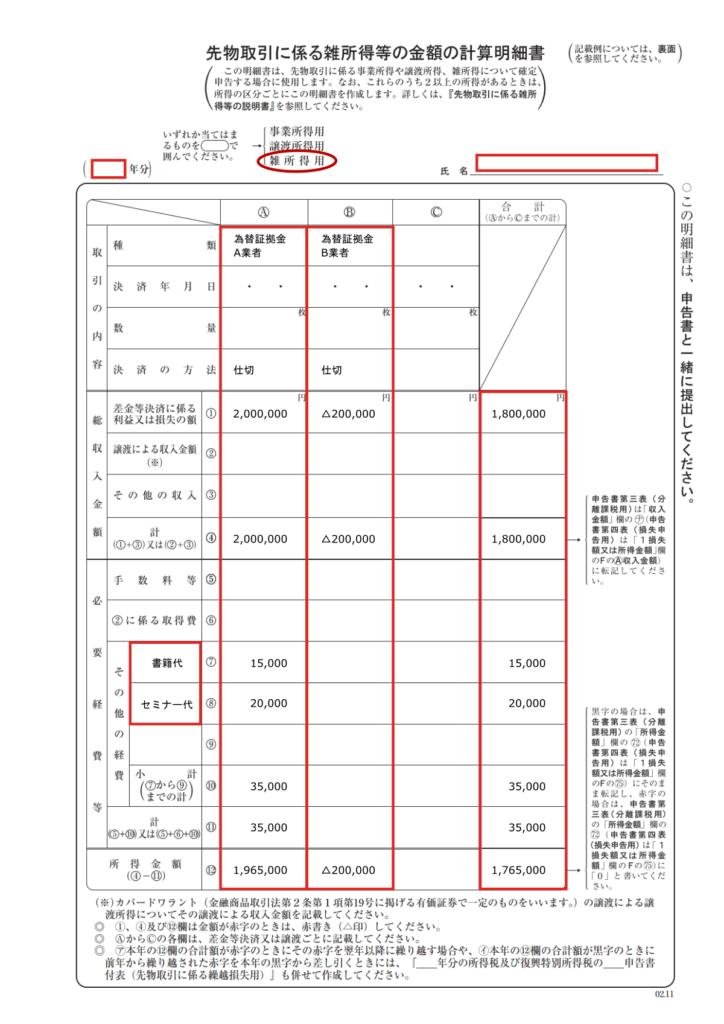 先物取引に係る雑所得等の金額の計算明細書の記載例